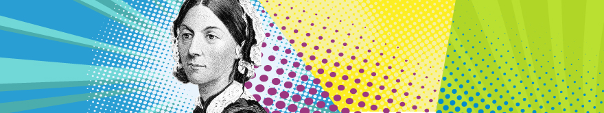 Banner Pop Art Pflege ist Kunst Florence Nightingale